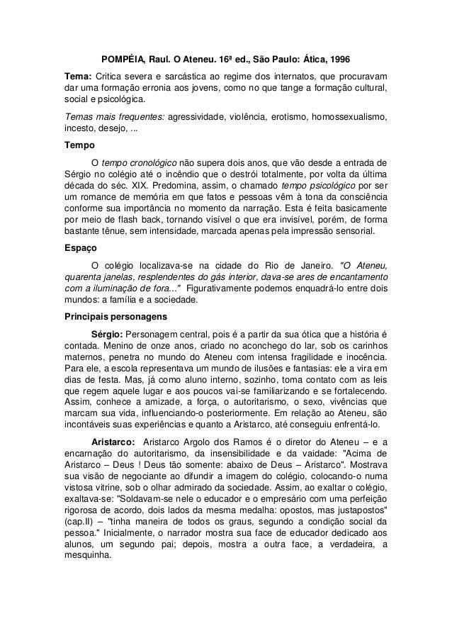 POMPÉIA, Raul. O Ateneu. 16ª ed., São Paulo: Ática, 1996 Tema: Critica severa e sarcástica ao regime dos internatos, que p...