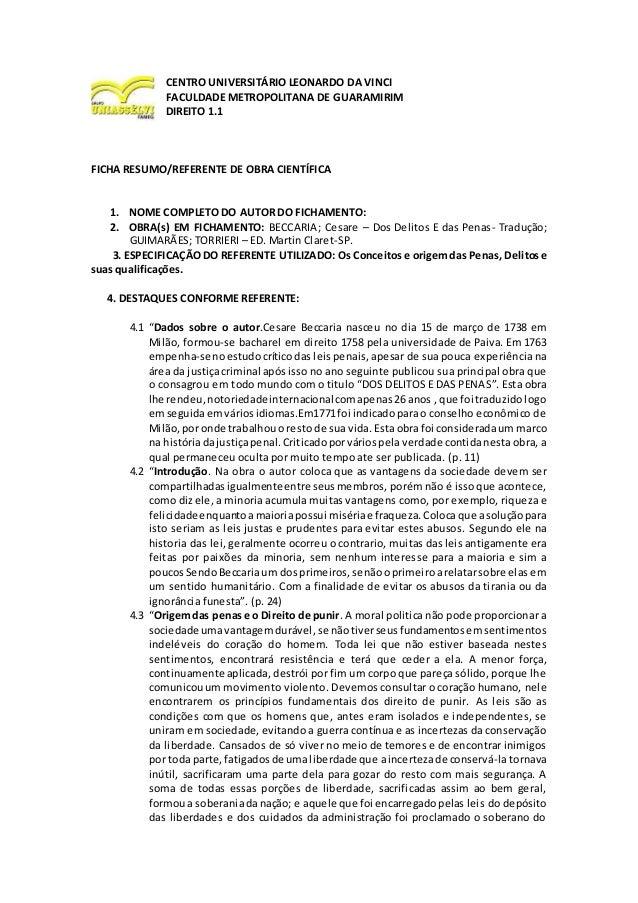 CENTRO UNIVERSITÁRIO LEONARDO DA VINCI FACULDADE METROPOLITANA DE GUARAMIRIM DIREITO 1.1 FICHA RESUMO/REFERENTE DE OBRA CI...