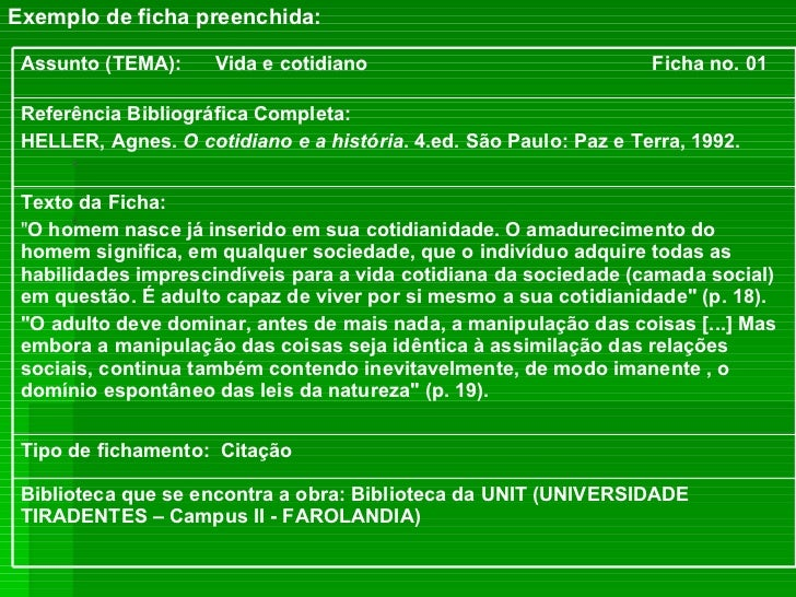 <ul><li>Exemplo de ficha preenchida: </li></ul>Biblioteca que se encontra a obra: Biblioteca da UNIT (UNIVERSIDADE TIRADEN...