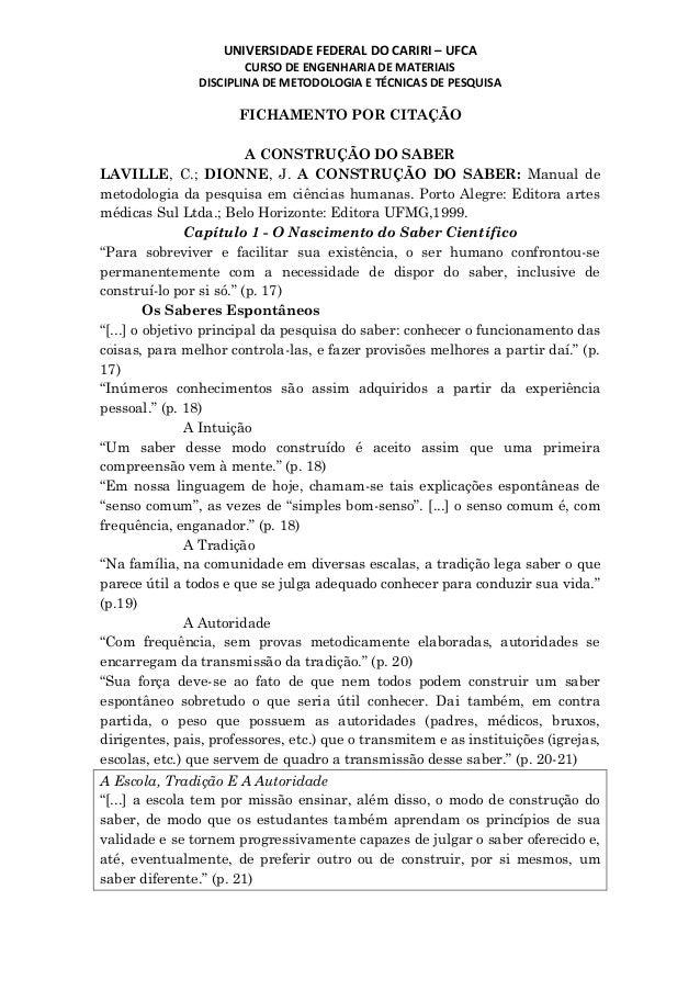UNIVERSIDADE FEDERAL DO CARIRI – UFCA CURSO DE ENGENHARIA DE MATERIAIS DISCIPLINA DE METODOLOGIA E TÉCNICAS DE PESQUISA FI...
