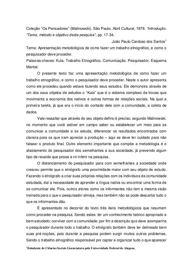 """Coleção """"Os Pensadores"""" (Malinowski). São Paulo, Abril Cultural, 1978. """"Introdução.  """"Tema, método e objetivo desta pesqui..."""