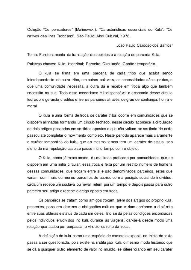 """Coleção """"Os pensadores"""" (Malinowski). """"Características essenciais do Kula"""". """"Os  nativos das ilhas Trobriand"""". São Paulo, ..."""
