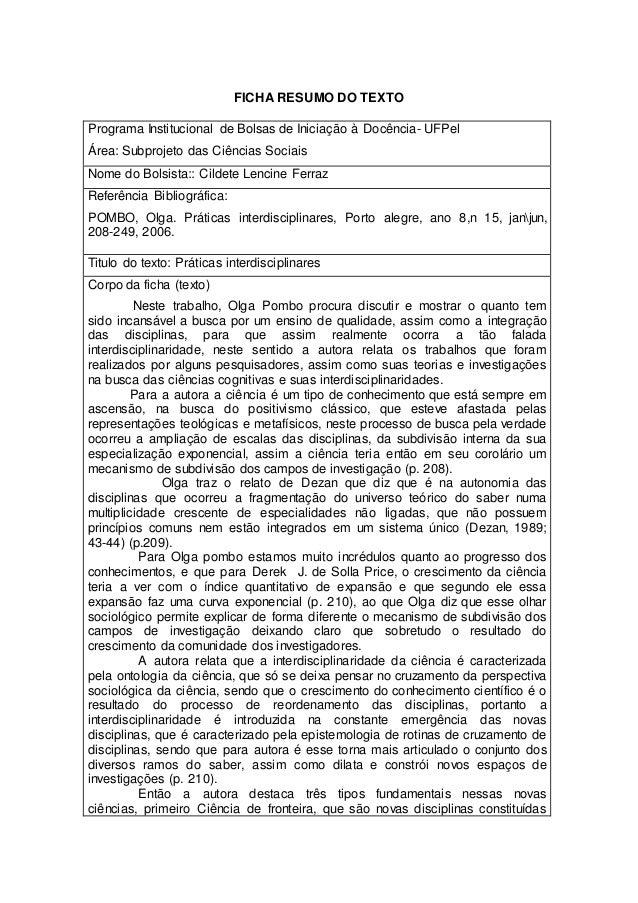 FICHA RESUMO DO TEXTO Programa Institucional de Bolsas de Iniciação à Docência- UFPel Área: Subprojeto das Ciências Sociai...