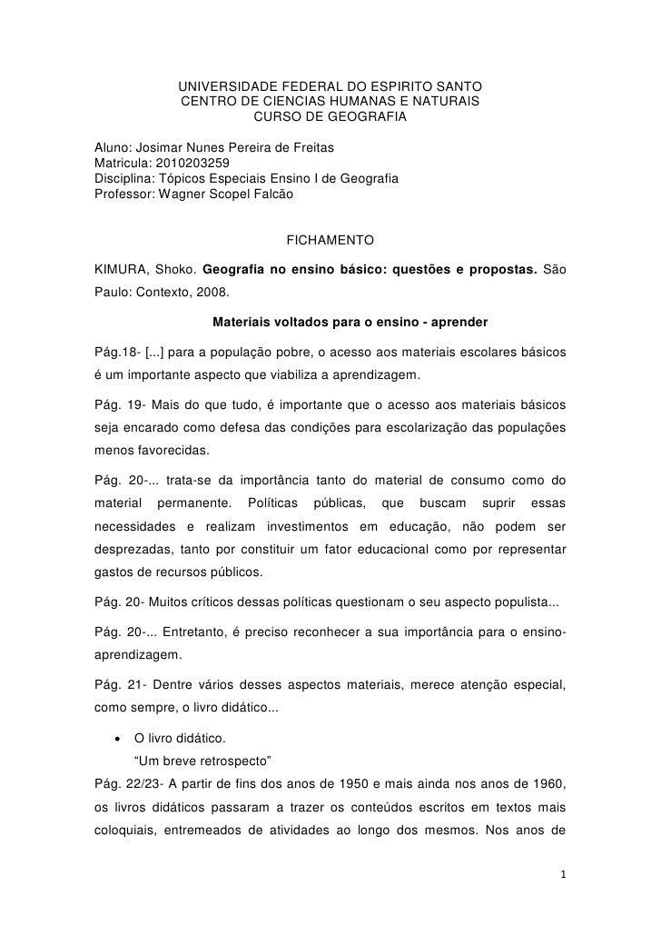 UNIVERSIDADE FEDERAL DO ESPIRITO SANTO               CENTRO DE CIENCIAS HUMANAS E NATURAIS                        CURSO DE...