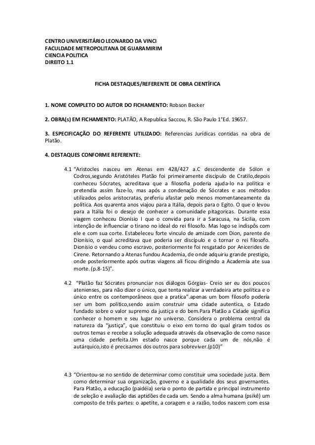 CENTRO UNIVERSITÁRIO LEONARDO DA VINCIFACULDADE METROPOLITANA DE GUARAMIRIMCIENCIA POLITICADIREITO 1.1FICHA DESTAQUES/REFE...