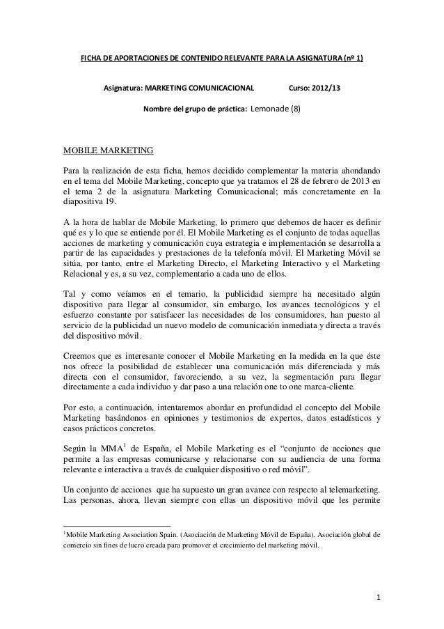 1FICHA DE APORTACIONES DE CONTENIDO RELEVANTE PARA LA ASIGNATURA (nº 1)Asignatura: MARKETING COMUNICACIONAL Curso: 2012/13...