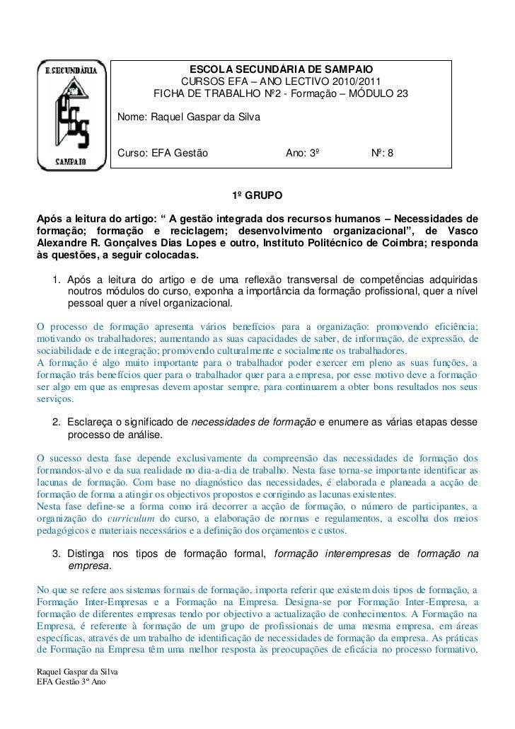 ESCOLA SECUNDÁRIA DE SAMPAIO                                CURSOS EFA – ANO LECTIVO 2010/2011                            ...