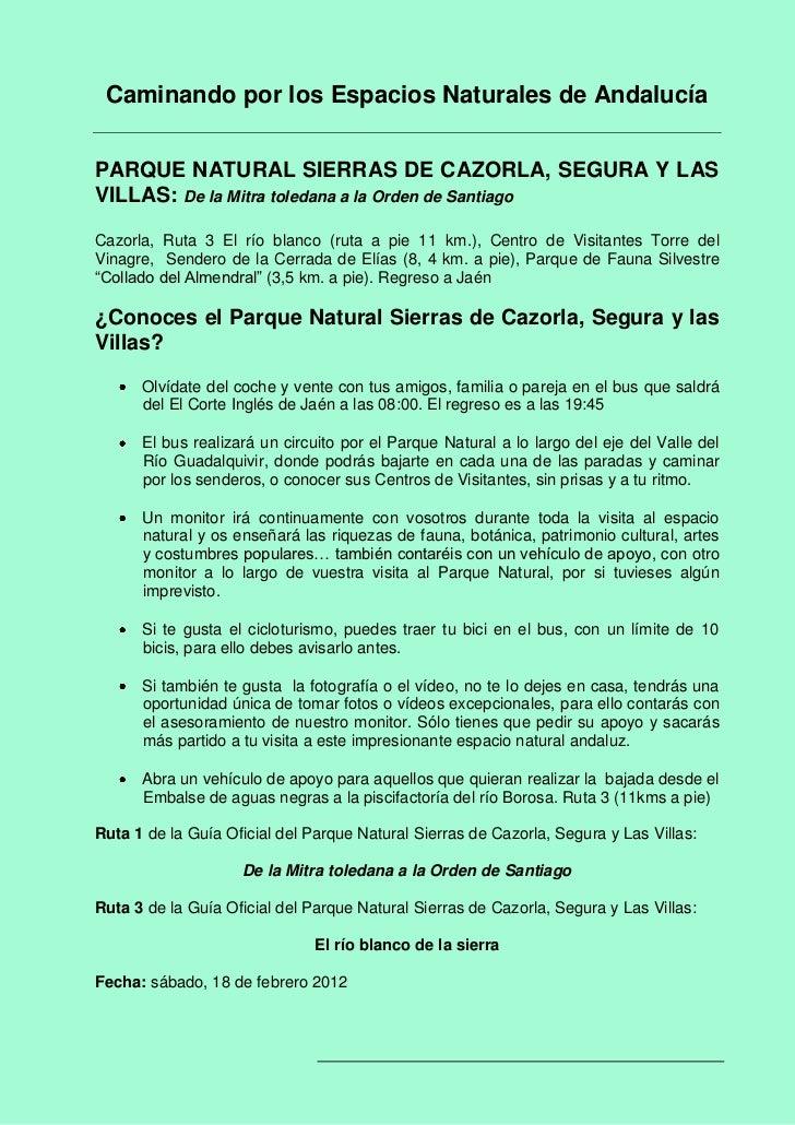 Caminando por los Espacios Naturales de AndalucíaPARQUE NATURAL SIERRAS DE CAZORLA, SEGURA Y LASVILLAS: De la Mitra toleda...