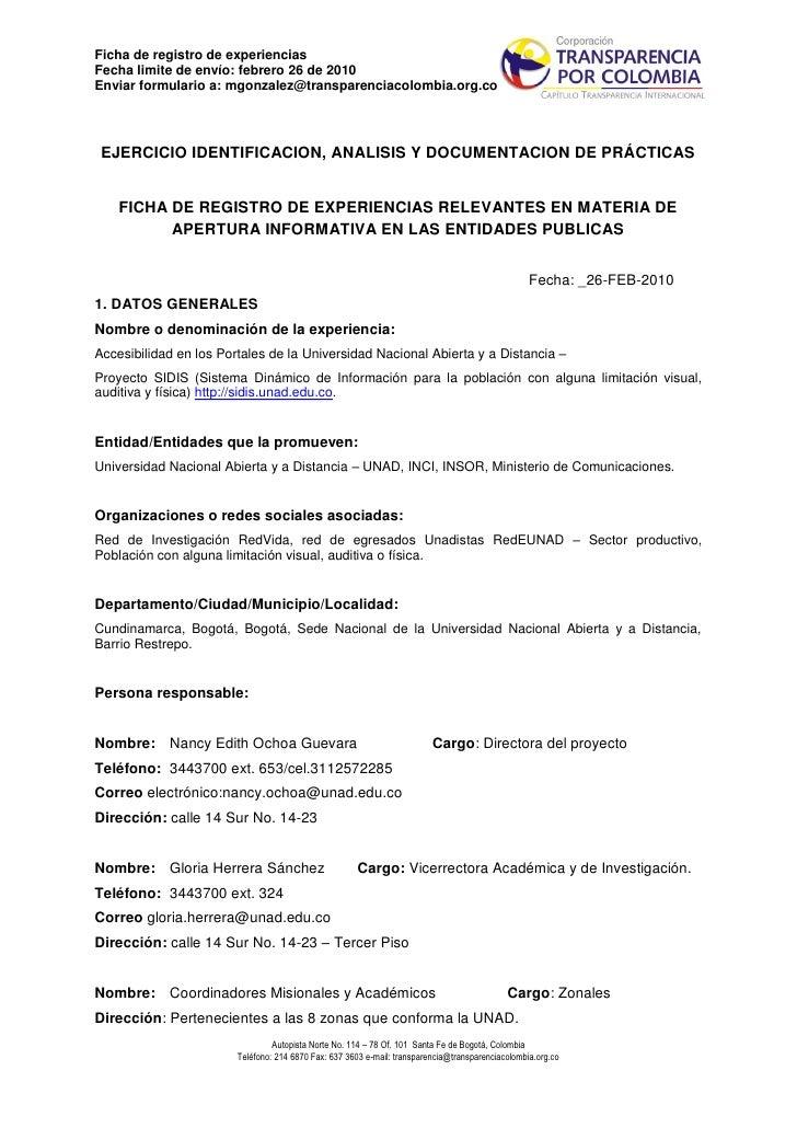 Ficha de registro de experiencias Fecha limite de envío: febrero 26 de 2010 Enviar formulario a: mgonzalez@transparenciaco...