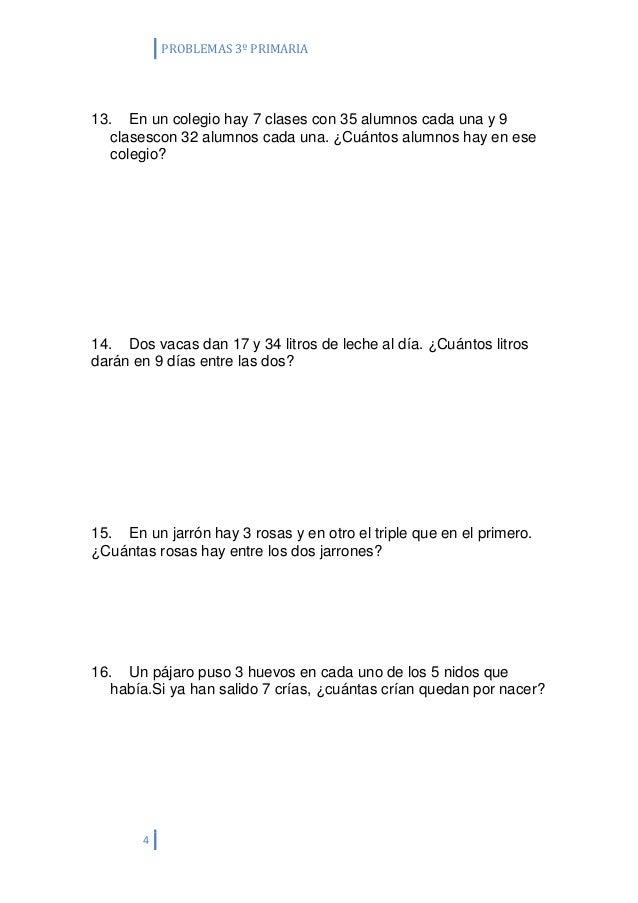 Ficha problemas 3º primaria