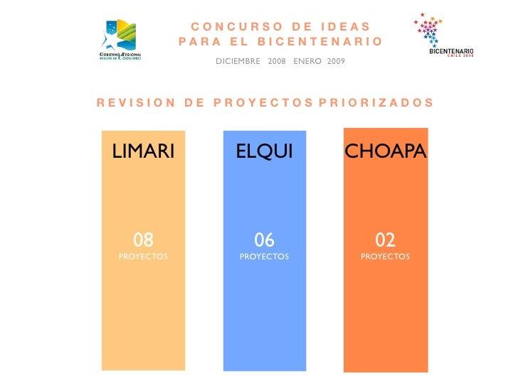 CONCURSO DE IDEAS               PARA EL BICENTENARIO                  DICIEMBRE 2008 ENERO 2009    REVISION DE PROYECTOS P...