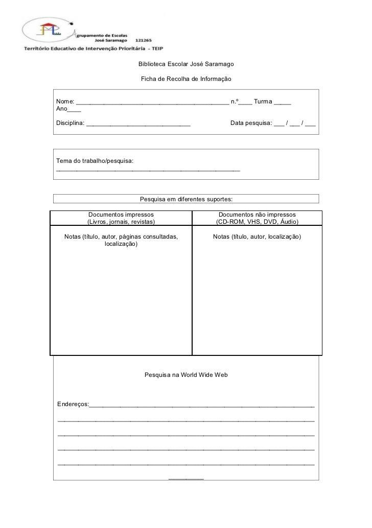 Ficha de recolha de informação