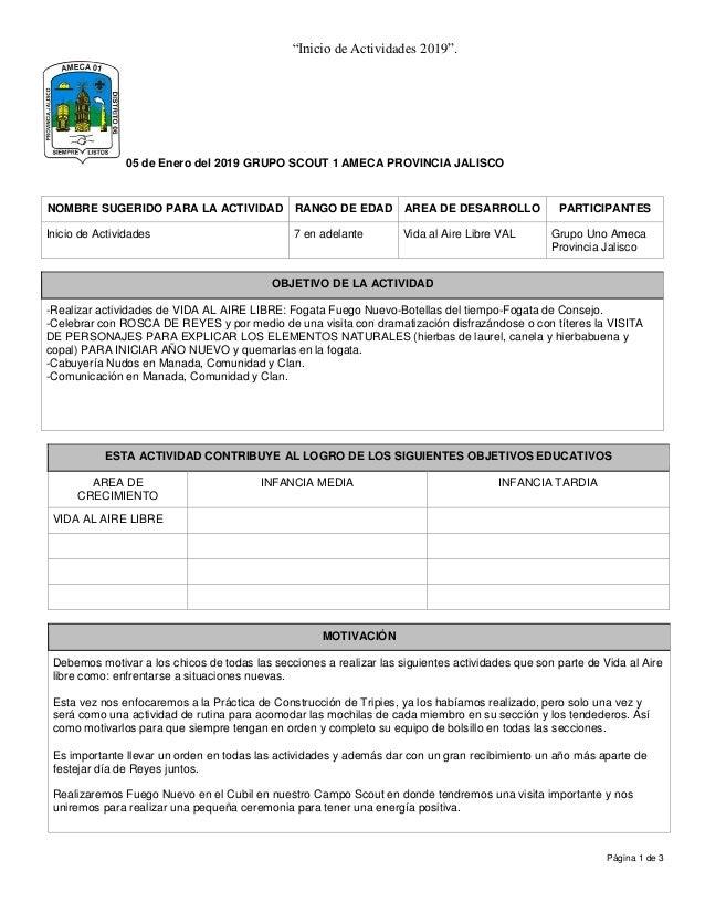 """726d7ce7a """"Inicio de Actividades 2019"""". Página 1 de 3 05 de Enero del 2019 """" ..."""