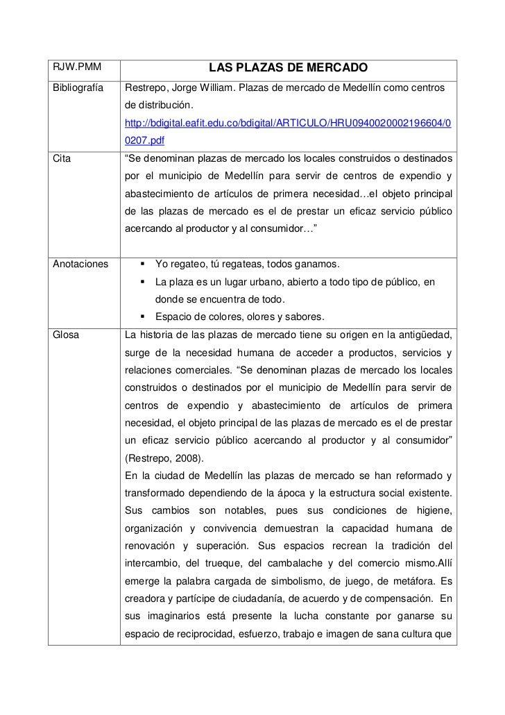 RJW.PMM                            LAS PLAZAS DE MERCADOBibliografía   Restrepo, Jorge William. Plazas de mercado de Medel...
