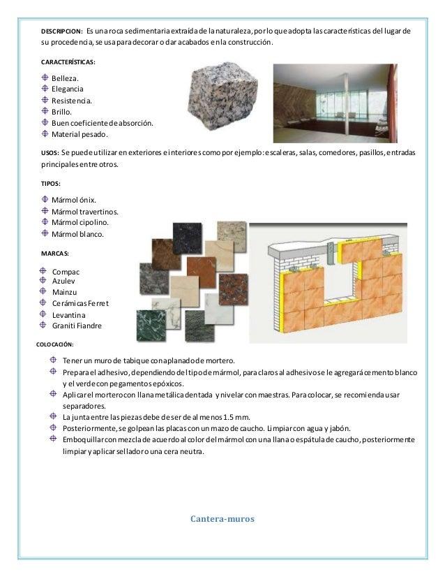 Fichas tecnicas acabados en pisos - Caracteristicas del marmol ...