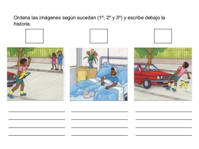 Ordena las imágenes según sucedan (1º, 2º y 3º) y escribe debajo la historia.