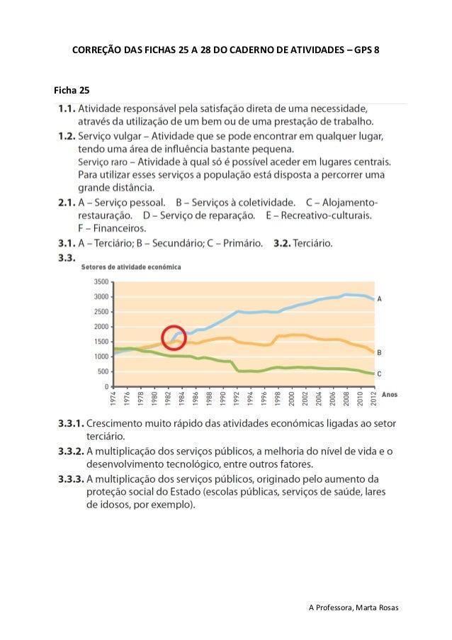 A Professora, Marta Rosas CORREÇÃO DAS FICHAS 25 A 28 DO CADERNO DE ATIVIDADES – GPS 8 Ficha 25