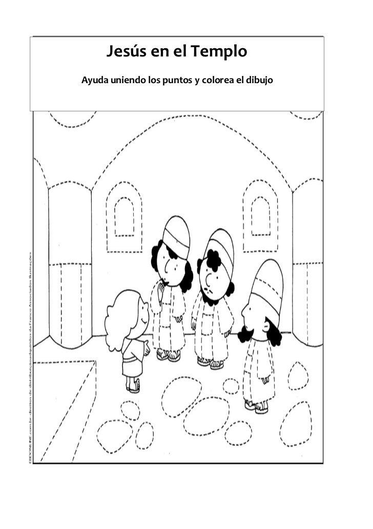 Jesús en el TemploAyuda uniendo los puntos y colorea el dibujo