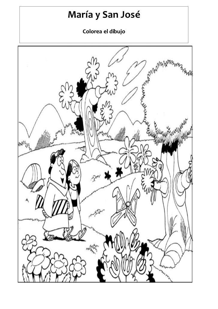 María y San José   Colorea el dibujo