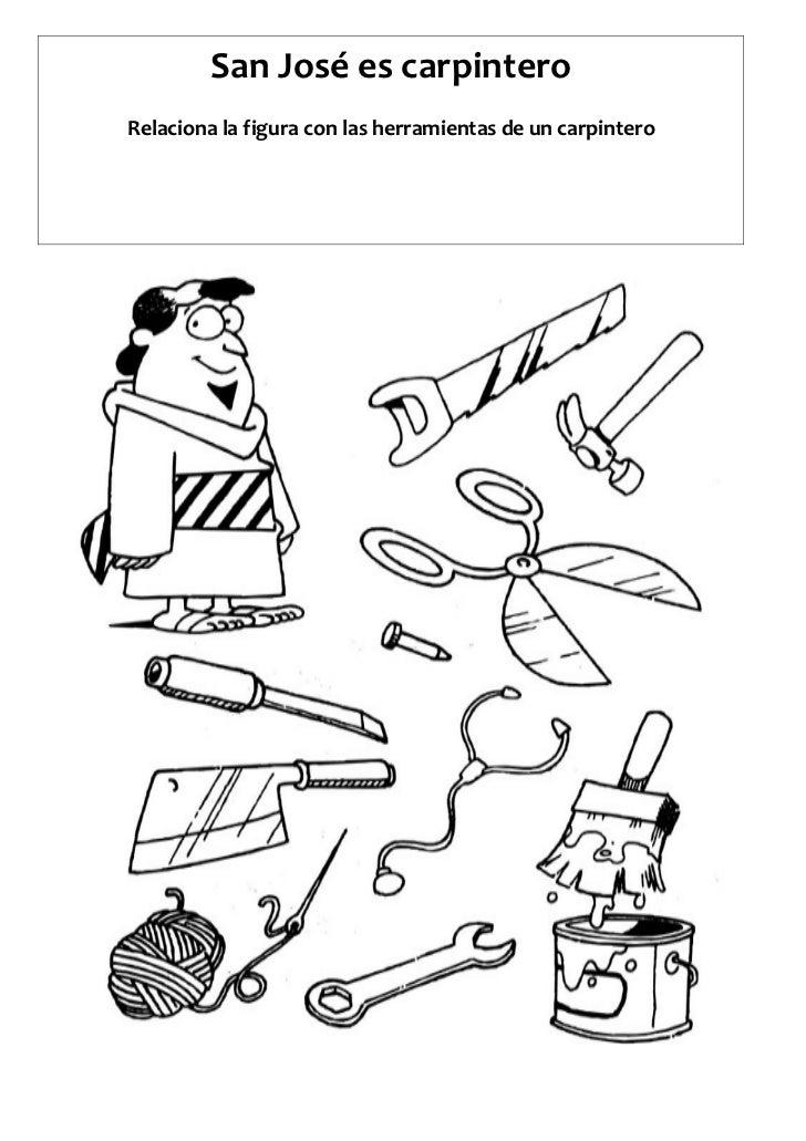 San José es carpinteroRelaciona la figura con las herramientas de un carpintero