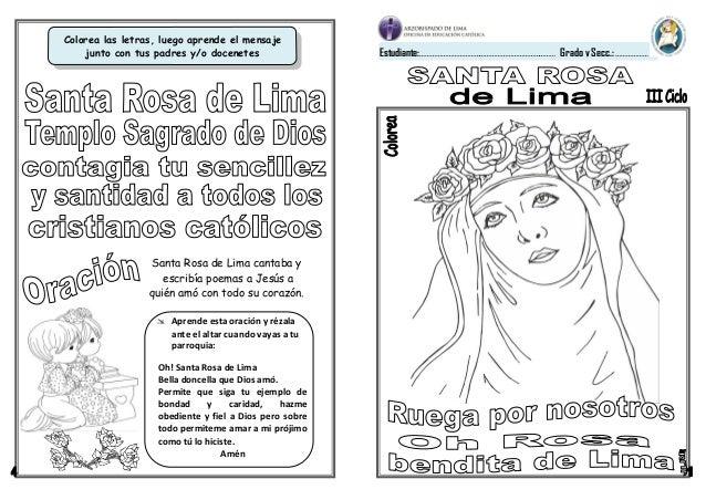 FICHA SANTA ROSA DE LIMA 1º Y 2º GRADO PRIMARIA