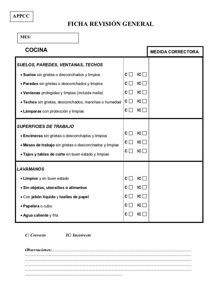 Fichas autocontrol APPCC