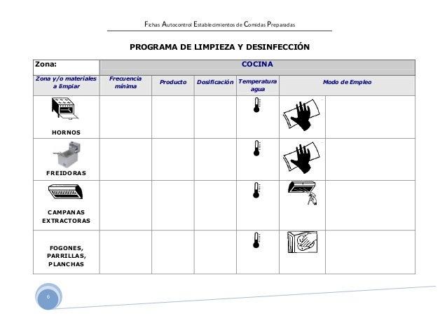 Fichas autocontrol comidas for Programa de limpieza y desinfeccion de una cocina