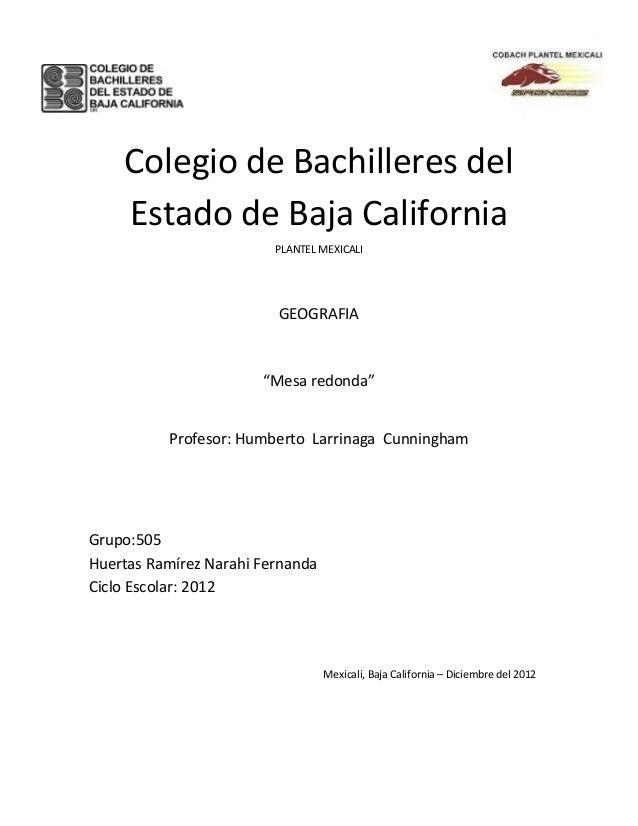 Colegio de Bachilleres del    Estado de Baja California                         PLANTEL MEXICALI                         G...