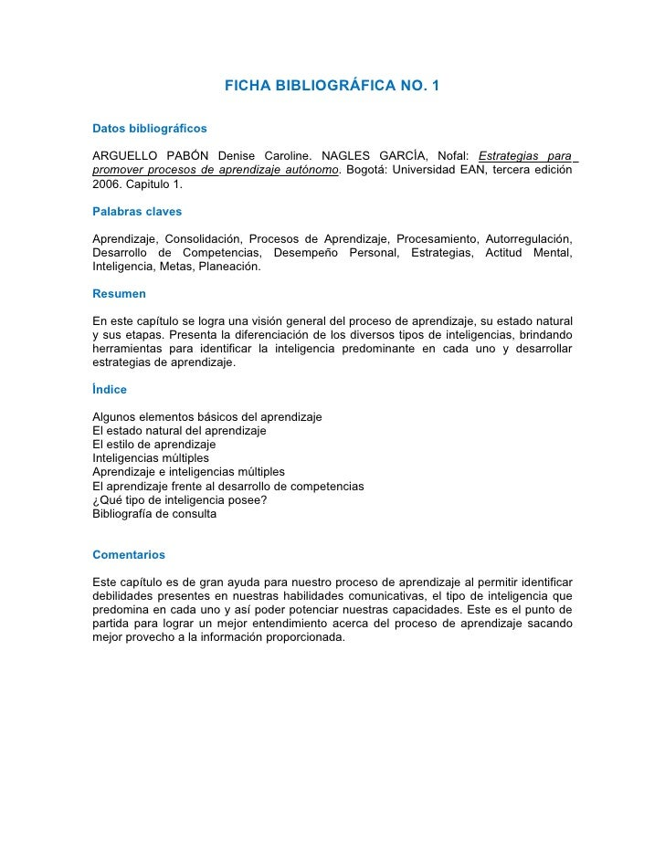 FICHA BIBLIOGRÁFICA NO. 1  Datos bibliográficos  ARGUELLO PABÓN Denise Caroline. NAGLES GARCÍA, Nofal: Estrategias para pr...