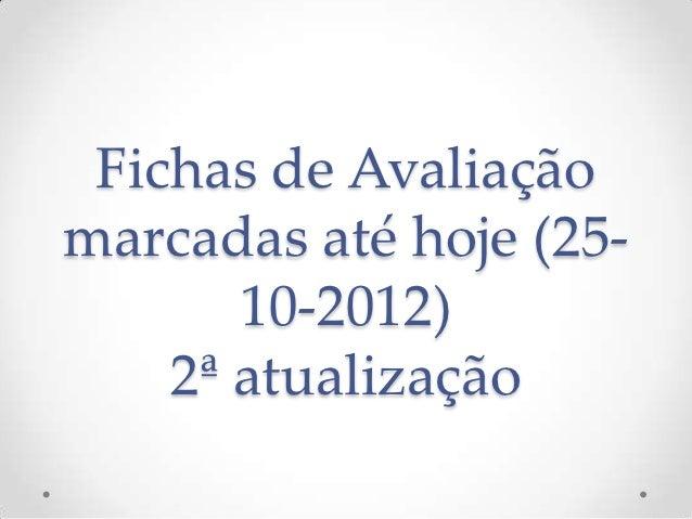 Fichas de Avaliaçãomarcadas até hoje (25-       10-2012)    2ª atualização