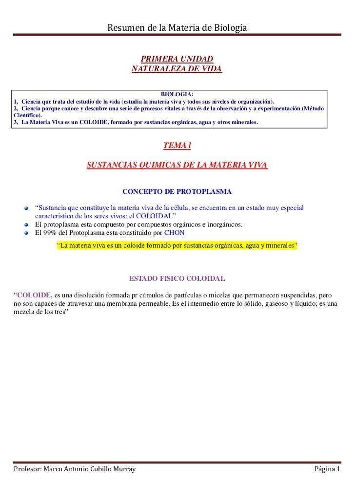 Resumen de la Materia de Biología                                               PRIMERA UNIDAD                            ...