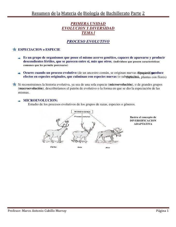Resumen de la Materia de Biología de Bachillerato Parte 2                                           PRIMERA UNIDAD        ...