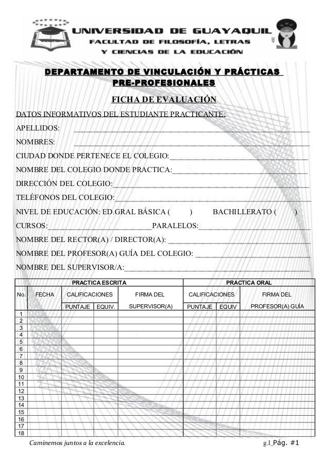 DEPARTAMENTO DE VINCULACIÓN Y PRÁCTICAS PRE-PROFESIONALES FICHA DE EVALUACIÓN DATOS INFORMATIVOS DEL ESTUDIANTE PRACTICANT...