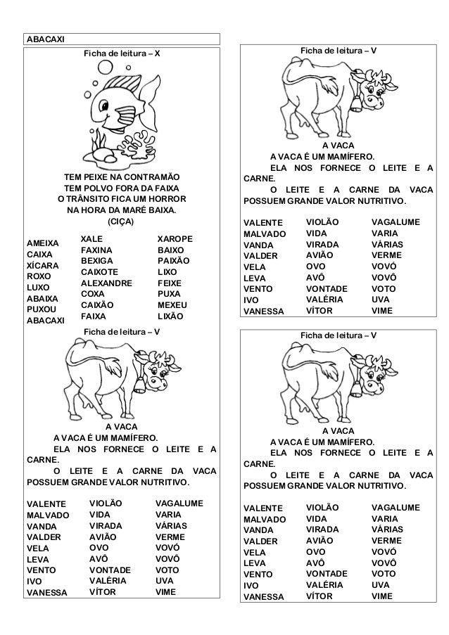 Fichas De Leitura Texto E Palavras