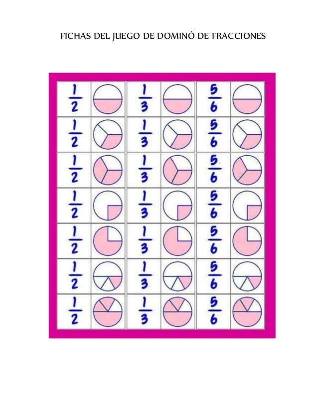 Fichas del juego domino de fracciones for Fichas de domino