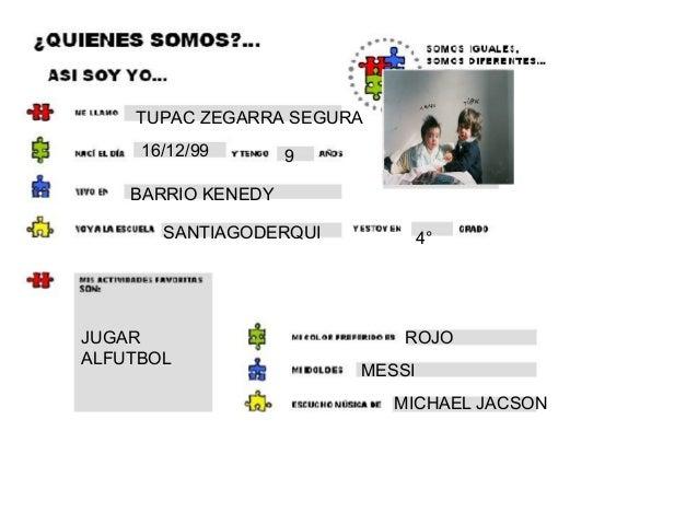 TUPAC ZEGARRA SEGURA 16/12/99 9 BARRIO KENEDY SANTIAGODERQUI 4° JUGAR ALFUTBOL ROJO MESSI MICHAEL JACSON