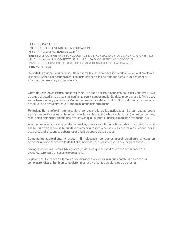 UNIVERSIDAD LIBREFACULTAD DE CIENCIAS DE LA EDUCACIÓNNUCLEO FOMATIVO BÁSICO COMÚNEJE TEMATICO: NUEVAS TECNOLOGIA DE LA INF...