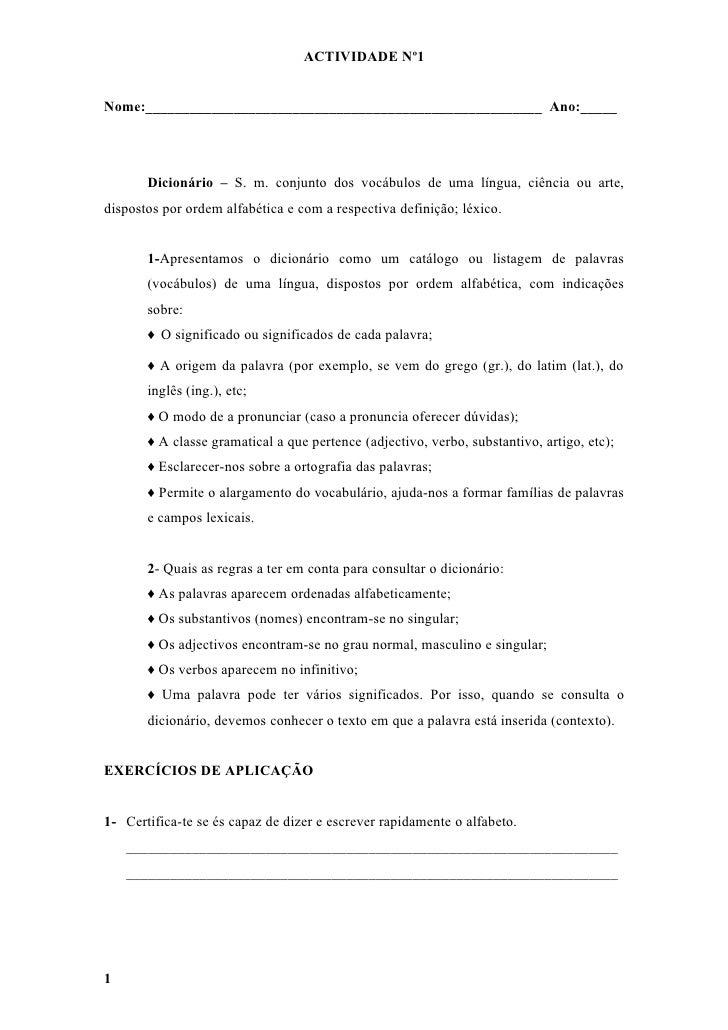 Fichas dicionário