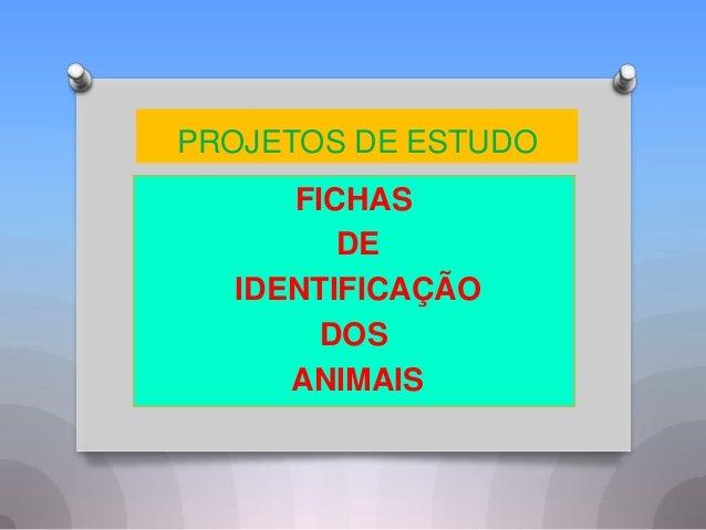 PROJETOS DE ESTUDO     FICHAS        DE  IDENTIFICAÇÃO       DOS     ANIMAIS