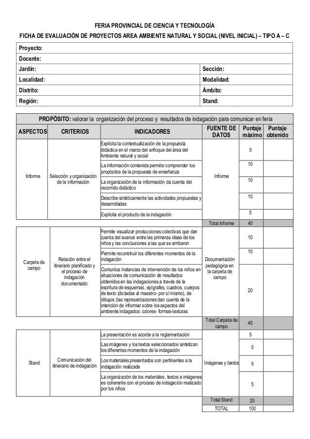 Fichas evaluaci n para ferias de ciencia y tecnolog a 2015 for Inscripcion jardin 2015