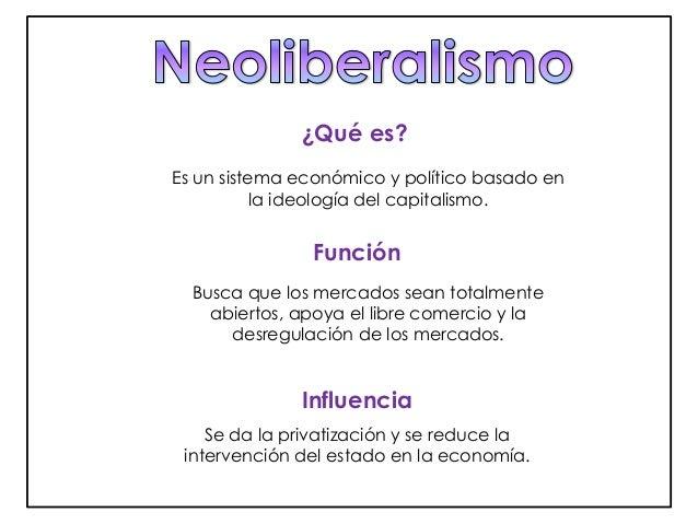 ¿Qué es?  Es un sistema económico y político basado en  la ideología del capitalismo.  Función  Busca que los mercados sea...