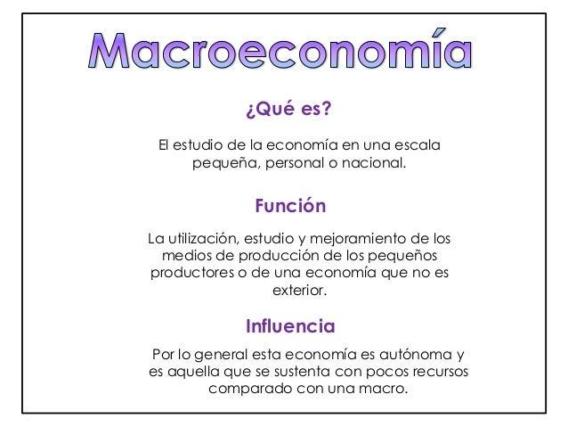 ¿Qué es?  El estudio de la economía en una escala  pequeña, personal o nacional.  Función  La utilización, estudio y mejor...