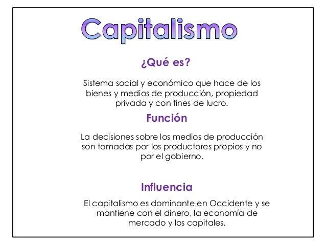 ¿Qué es?  Sistema social y económico que hace de los  bienes y medios de producción, propiedad  privada y con fines de luc...