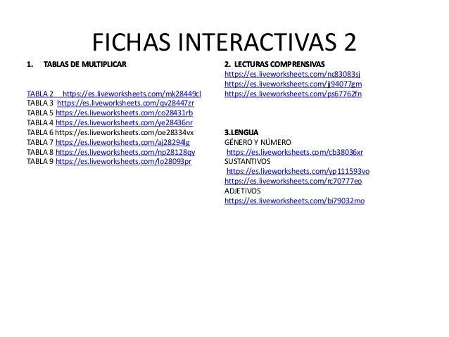 FICHAS INTERACTIVAS 2 1.1. TABLAS DE MULTIPLICARTABLAS DE MULTIPLICAR TABLA 2 https://es.liveworksheets.com/mk28449cl TABL...
