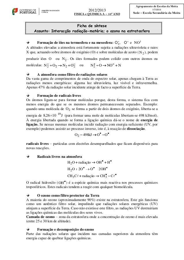2012/2013 FISICA e QUIMICA A – 10º ANO Agrupamento de Escolas da Moita 171311 Sede – Escola Secundária da Moita Ficha de s...