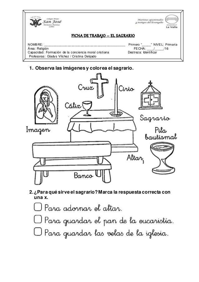 FICHAS DE RELIGIÓN - PRIMER GRADO