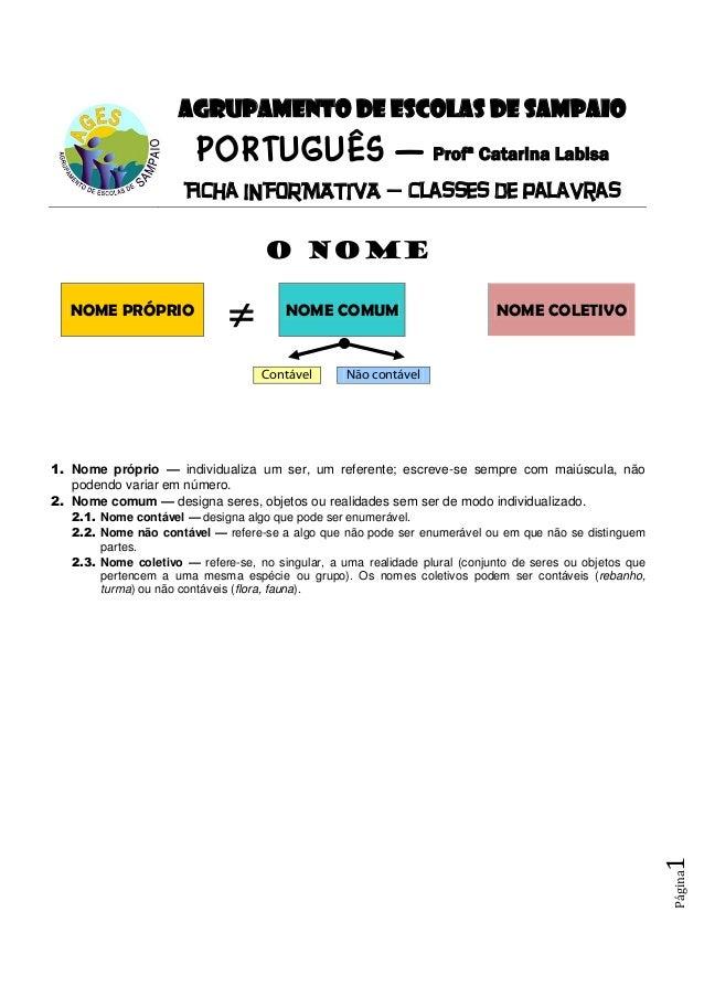 Página1 AGRUPAMENTO DE ESCOLAS DE SAMPAIO PORTUGUÊS — Profª Catarina Labisa Ficha INFORMATIVA — classes de palavras O NOME...