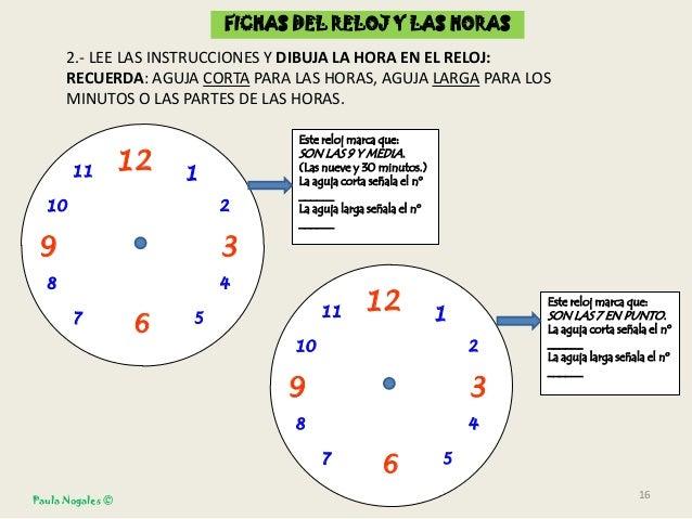 Fichas reloj y horas