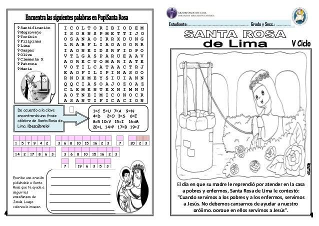 Ficha Santa Rosa De Lima 5 Y 6 Grado Primaria on Dibujos Cristianos Para Imprimir