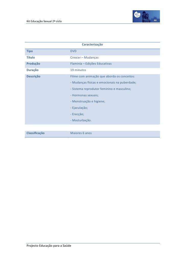 Kit Educação Sexual 2º ciclo                                       CaracterizaçãoTipo                           DVDTítulo ...
